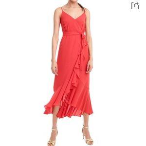 J Crew Faux Wrap Red Midi Dress